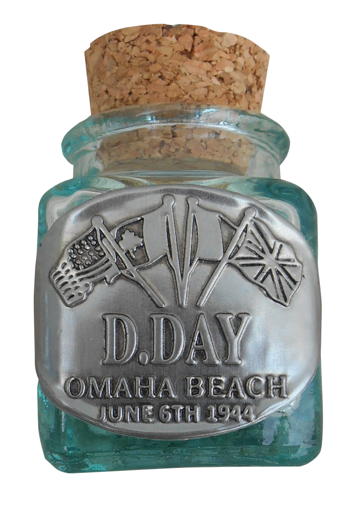 Decorative glass pot labelled with a pewter plaque OMAHA BEACH